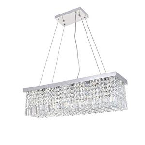 Dst Modern Crystal Chandelier Lighting, Luxury Rectangle Raindrop Elegant Ceiling Lights Fixture Flush Mount Chrome Pendant Light for Dining Living Room Foyer Office Bedroom L31.5'' x W10'' x H9''