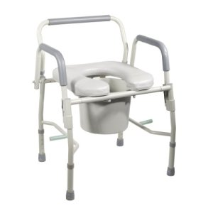 Drive Medical Steel Drop Arm Bedside Commode with Padded Seat and Arms, Grey