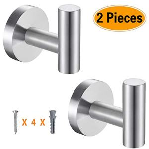 Topspeeder 2 Pcs Bathroom Towel Hooks, Coat/Robe Clothes Hooks, SUS 304 Stainless Steel Wall Hook Heavy Duty for Bedroom,Kitchen,Restroom,Bathroom,Hotel,Brushed Nickel and Wall Mounted