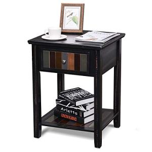 Rustic End Table, Sunix Sofa Side Table Corner Table with Solid Wood Legs, Lower Storage Shelf and Drawer for Living Room, Bedroom Nightstand, Easy Assembly