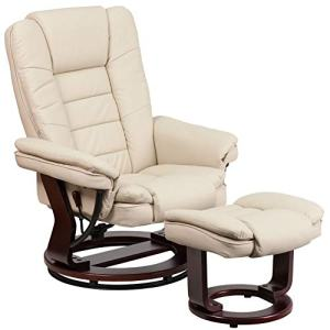 Flash Furniture Contemporary Multi-Position Recliner with Horizontal Stitching and Ottoman with Swivel Mahogany Wood Base in Beige Leather