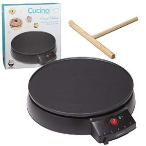 """Crepe Maker and Non-Stick 12"""" Griddle- Electric Crepe Pan with Spreader and Recipes Included- Also use for Blintzes, Eggs, Pancakes and More"""