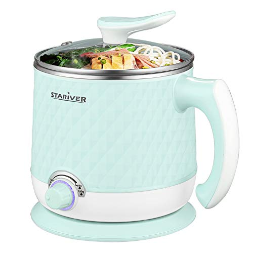 Stariver Electric Hot Pot, 1.8L Electric Cooker, Multi-Functional Mini Pot for Noodles, Soup, Porridge, Dumplings, Eggs, Pasta with Keep Warm Function, Over Heating and Boil Dry Protection, Green