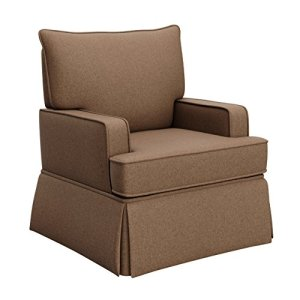 Storkcraft Davenport Upholstered Swivel Glider, Chestnut Cleanable Upholstered Comfort Rocking Nursery Swivel Chair