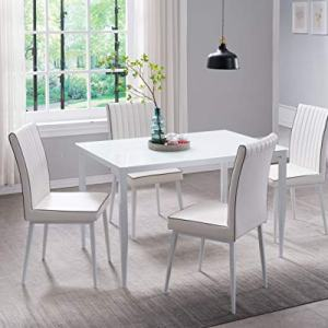 Kings Brand Furniture - PU Leather, Metal with Glass Top Dining Set, Table & 4 Chairs, White