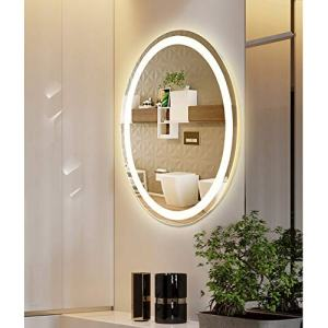 M LTMIRROR LED Lighted Oval Vanity Bathroom Makeup Mirrors Wall Mounted, Modern Anti-Fog IP66 Waterproof Vertical Installation Ultra-Thin 6000K Cool White (23 5/8''X 31 1/2'')