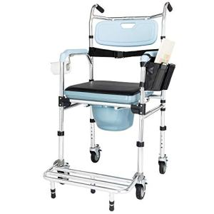 OMECAL Folding Commode Chair for Toilet w/Wheels & Pedal, 350 LBS Weight Capacity, 4 in 1 Multifunctional Portable Heavy Duty Bedside Commode for Elder Disabled People Pregnant Women