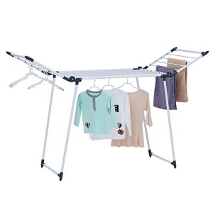 YUBELLES Clothes Drying Rack, Gullwing and Foldable Laundry Rack for Indoor or Outdoor Use, Dark Grey