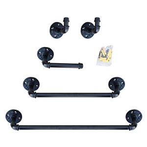 Industrial Pipe Bathroom Hardware Fixture Set - Bathroom Accessories Set - 5-Piece Kit Includes Robe Hook, 24 and 18 Inch Bath Pipe Towel Rack Bar and Toilet Paper Holder, Coated Finish