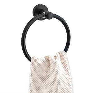 Black Towel Ring - Towel Holders for Bathroom - Shiny Black Hand Bath Towel Rings Hanger with Wall Mounted Hardware - Rustproof Round Hook Made from Stainless Steel (Drill Needed)