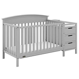 Graco Benton 4-in-1 Convertible Crib and Changer (Pebble Gray) – Attached Changing Table with Water-Resistant Changing Pad, Space-Saving Storage with 3 Drawers and 3 Open Shelves