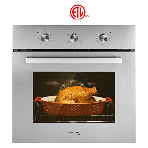 """Electric Single Wall Oven, GASLAND Chef ES606MS 24"""" Built-in Electric Ovens, 240V 2000W 2.3Cu.f 6 Cooking Functions Wall Oven, Mechanical Knobs Control, Stainless Steel Finish"""