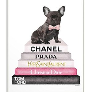 Stupell Industries Book Stack Fashion French Bulldog Wall Plaque, 10 x 15, Design by Artist Amanda Greenwood