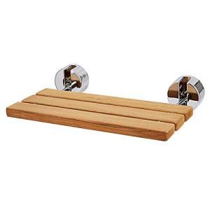 "Giantex 20"" Teak Wood Folding Shower Seat Bench Folding Shower Seat Teak Wood and Aluminum Modern Wall-Mounted Fold Up Bathroom Stool Foldaway Shower Seating Chair (20""x13""x1"")"