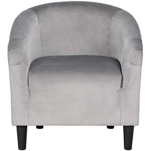 YAHEETECH Velvet Barrel Chair Club Chair Accent Arm Chair Upholstered Barrel Back Living Room Chair Gray