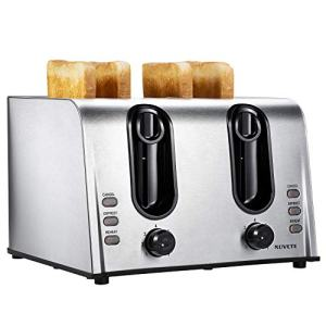 Toaster 4 Slice Best Rated Prime, NOVETE Retro Style Brushed Stainless Steel Toaster, 1.5'' Extra-Wide Slot, 7 Shade Settings, Defrost/Reheat/Cancel Functions, Compact Bread Toaster for Breads/Bageles