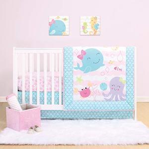 The Peanutshell Sea Sweeties Crib Bedding Sets for Baby Girls | 3 Piece Nursery Set | Crib Comforter, Fitted Crib Sheet, Crib Skirt Included