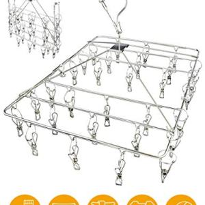 Clothes Drying Rack with Windproof Hook,Stainless Steel Drying Racks for Laundry,Folding Clothes Drying Rack for Hanging Clothes,Underwear,Bra,Baby Clothes,Diapers,Towel,Hat,Scarf,Gloves(30 Clips)