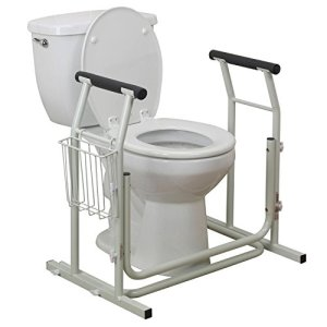 Toilet Safety Frames & Rails with Adjustable Height Bathroom Potty Safety Assist Frame w/Grab Bars & Stable Support Railings for Elderly, Senior, Handicap & Disabled