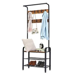 KINGSO Hall Tree 9 Hooks, Industrial Coat Rack Shoe Bench Entryway Coat Shoe Rack 3-Tier Shoe Bench, 3 in 1 Design Wood Look Accent Furniture with Stable Metal Frame Easy Assembly