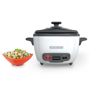 Black+Decker 14-Cup Cooked/7-Cup Uncooked Rice Cooker and Food Steamer, White