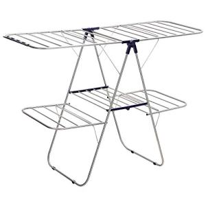 SONGMICS Foldable Clothes Drying Rack, 2-Level Stable Indoor Airer, Free-Standing Laundry Stand, with Height-Adjustable Gulwings, for Bed Linen, Clothing, Socks, Scarves, Blue ULLR53BU