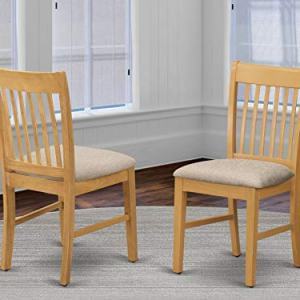 East West Furniture NFC-OAK-C Norfolk Mid-Century Dining Chairs - Linen Fabric Seat and OAK Solid wood Frame Dining Room Chair set of 2