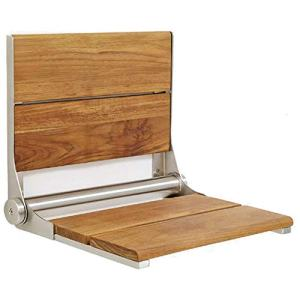 Lifeline Teak Wood Folding Shower Seat - Wall Mounted Bench/Bathroom Safety & Mobility Aid/Easy to Fold Down/Seniors & Disabled/ADA Compliant/304 Stainless Steel/Brushed Nickel Frame/18 x 16 inch