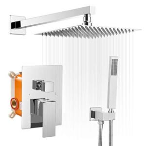 BWE 10 Inch Square Bathroom Luxury Rain Mixer Shower Combo Set Wall Mounted Rainfall Shower Head System Polished Chrome Shower Faucet Rough-in Valve Body and Trim Included