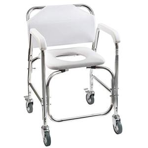 DMI Rolling Shower and Commode Transport Chair with Wheels and Padded Seat for Handicap, Elderly, Injured and Disabled, 250 lb Weight Capacity