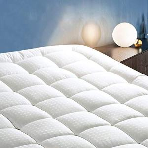 """COTTONHOUSE Queen Size Cooling Mattress Topper Pad Cover, Cotton Top Pillow Top with Down Alternative Fill (8-21"""" Fitted Deep Pocket)"""