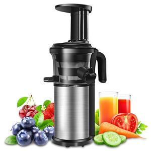 Juicer Slow Juicer Machine Portable Vertical Cold Press Juicer with Reversal Function, BPA-free Masticating Juicer with Juice Jug and Clean Brush for Vegetables and Fruits