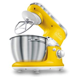Sencor 6 Speed Stand Mixer with Pouring Shield and 4 Specialized Metal Attachments and Stainless Steel Bowl, 4.2 Qt, Yellow