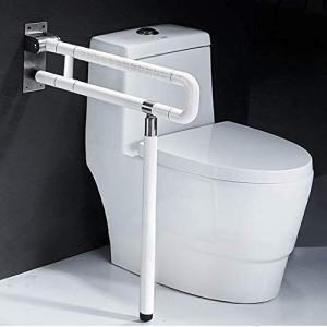 Foldable Toilet Grab Bar 304 Stainless Steel Medical Safety Shower Handrails Anti Slip Bathroom Seat Support Bar Flip-Up Bathtub Grab Arm Bar Hand Grips for Disabled Elderly Handicap Pregnant(White)
