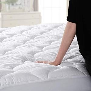 "Abakan Mattress Pad Queen Size Cooling Mattress Cover 100% Cotton Quilted Mattress Topper White Bed Topper Down Alternative Filling (8-21"" Fitted Deep Pocket)"
