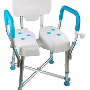 MedGear A-0273A DURA Hygienic Cutout Shower Chair with Back and Arm Rests Including Free Clip-on Shower Head Holder