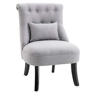 HOMCOM Accent Chair with Upholstered Fabric, Solid Wood Legs and Pillow, Perfect for The Living Room or Bedroom, Grey