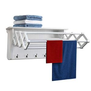 Danya B Accordion Clothes Drying Rack, Retractable, Wall Mounted Drying Rack, White - Perfect for The Laundry Room
