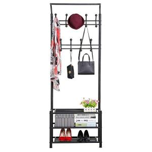 YAHEETECH Hall Tree Metal Entryway 18 Hooks Coat Rack with 3-Tier Shoe Rack Bench Hat Umbrella Stand Hallway Organiser,Entryway Bench with Coat Rack Black