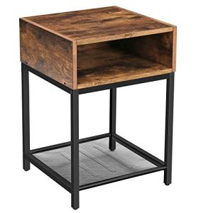 VASAGLE INDESTIC Nightstand, End Table with Open Compartment and Mesh Shelf, Side Table, Bedroom, Easy Assembly, Space Saving, Industrial, Rustic Brown ULET46X