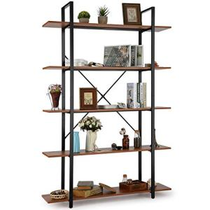 Himimi 5 Tier Bookshelf, Open Vintage Industrial Style Bookshelves and Bookcase, Etagere Bookcase with Metal Frame for Home and Office Organizer