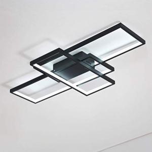 3-Light Acrylic Modern Ceiling Light for Livingroom Bedroom Kitchen Room Led Circle 3 Square Black Color Finish 3500K 4500K 6000K (Dimmable Version with Remote)
