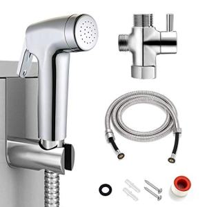 Bidet Sprayer for Toilet Kit, Bathroom Hand Held Water Sprayer Set, Cloth Diaper Shatta, Chrome, Reduce You Use of Toilet Paper