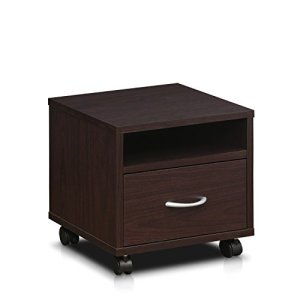 Furinno Indo Petite Under Desk Utility Cart with Casters, Espresso