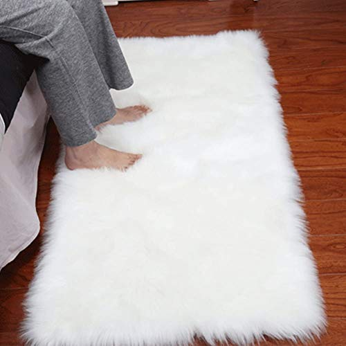 Dikoaina Classic Soft Faux Sheepskin Chair Cover Couch Stool Seat Shaggy Area Rugs for Bedroom Sofa Floor Fur Rug,White,2ftx3ft