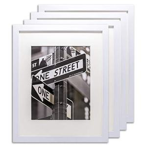 The Display Guys Set of 4 11x14 Pine Wood Picture Frames with 8x10 Acid-Free Mat & Tempered Glass (Matte White)