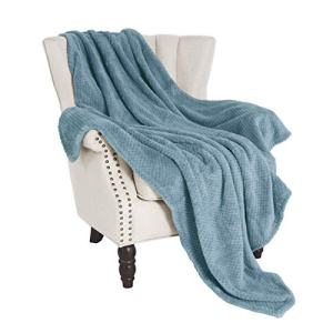 "Exclusivo Mezcla Waffle Flannel Fleece Velvet Plush Large Throw Blanket– 50"" x 70"" (Slate Blue)"