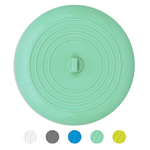 AmazerBath Bath Tub Stopper for Drain, 6 Inches Silicone Shower Drain Bath Plug Stopper for Kitchen, Bathroom, Laundry (Aqua)