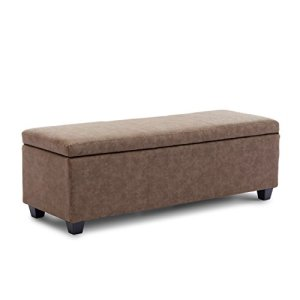 "BELLEZE Modern Ottoman Bench 48"" inch Living Room Storage Rectangular Furniture Leather Luxury, Rustic Brown"