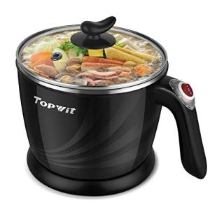 Topwit Electric Hot Pot Mini, Electric Cooker, Noodles Cooker, Electric Kettle with Multi-Function for Steam, Egg, Soup and Stew with Over-Heating Protection, Boil Dry Protection, Dual Power, 1.2L